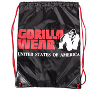 GW Drawstring Bag, black/red